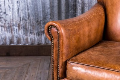 rustic leather lounge chair