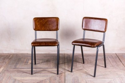 vintage look brown leather cafe chairs