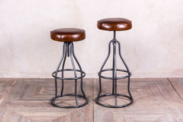 Fulham Height-Adjustable Leather Stool