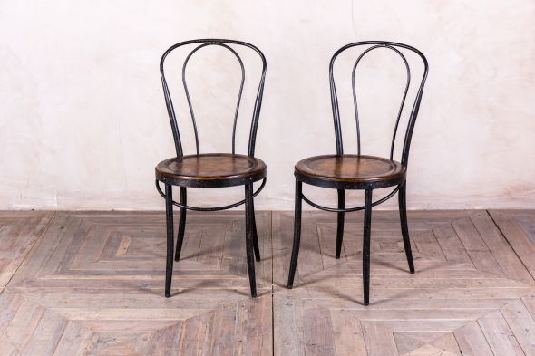Metal Bistro Cafe Chairs with Polished Oak Seats