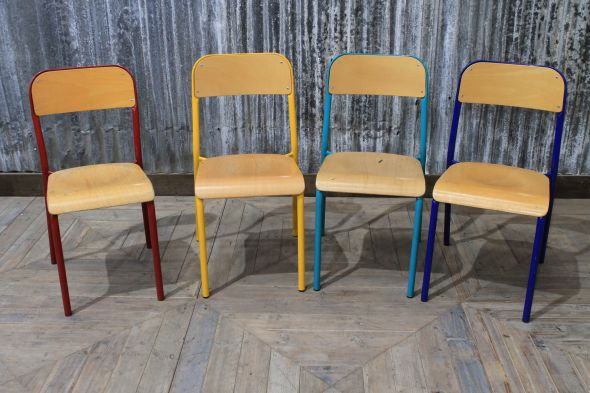 Metal Stackable Chairs in Four Colours