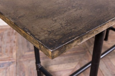 chunky pipework table with steel top