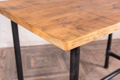 wooden topped pipework poseur table