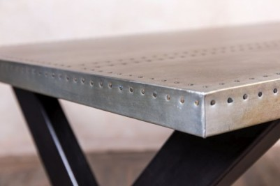 large metal top restaurant table