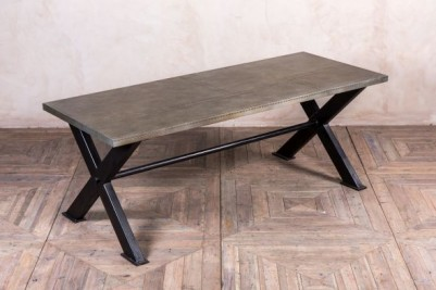 metal x frame dining table