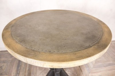 zinc and wood pedestal table