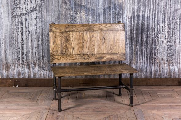 Hand Crafted Pipe Bench With Oak Seat and Back