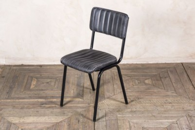 black ribbed chair