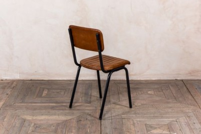 brown ribbed chair