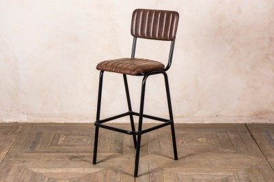 antique brown leather bar stool