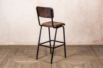 black frame stool with brown seat
