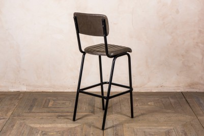 black frame stool with olive green seat