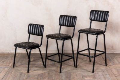 black leather breakfast stool
