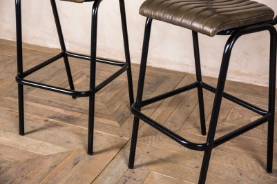 black metal frame stool with olive green seat
