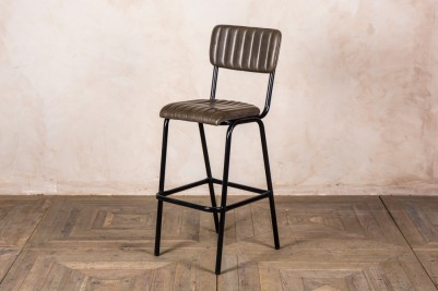 olive green leather bar stool