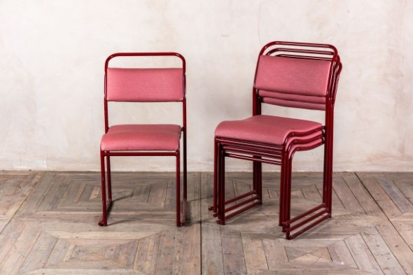 Red Upholstered Stacking Chairs