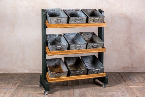 Retail Display Stand With Galvanised Trays