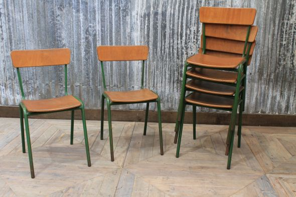 Retro Dark Green Stacking Chairs