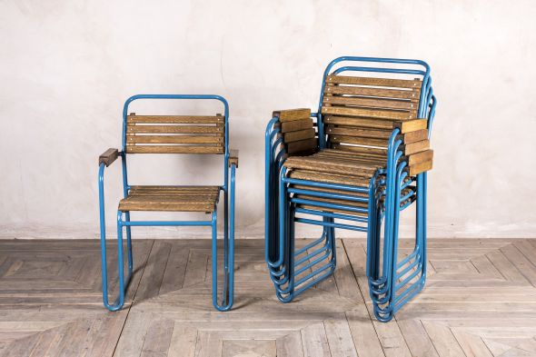 Blue Slatted Stacking Armchair