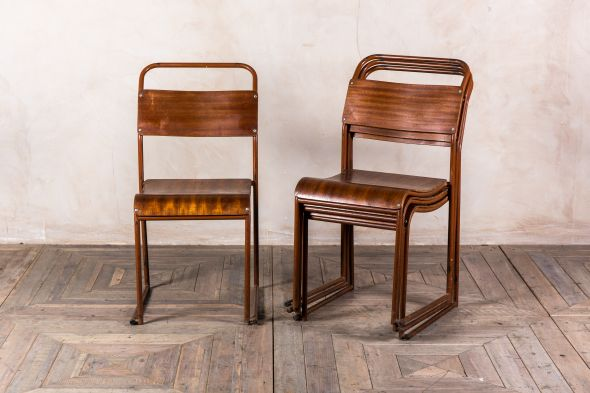 Brown Plywood Vintage Stacking Chair