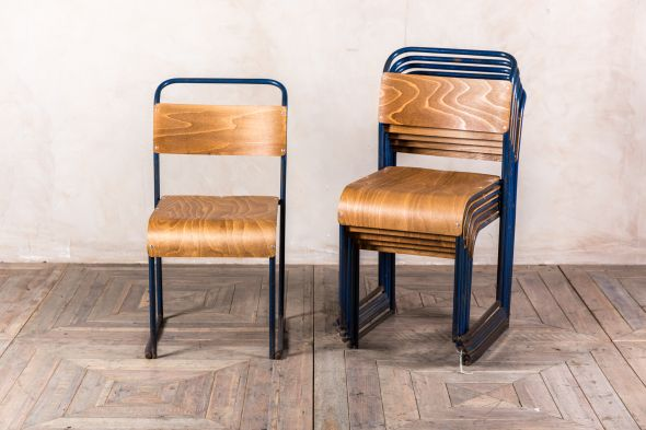 Industrial Stacking Chairs Dark Blue Frames