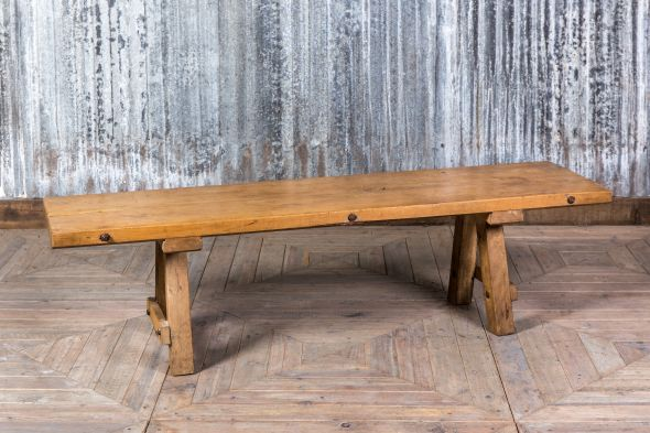 Vintage Rustic Farmhouse Pig Bench