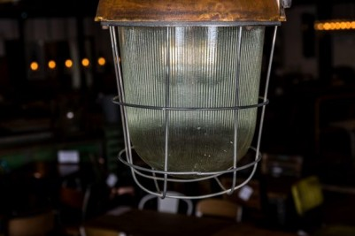 caged ceiling light