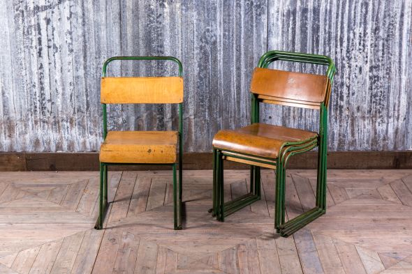 Green Metal School Stacking Chairs