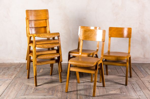 Vintage Wooden Stacking School Chairs