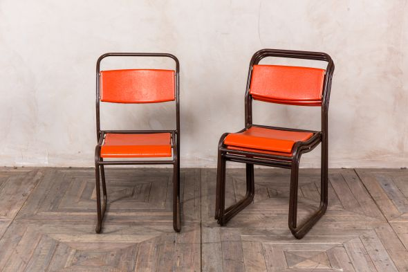 Industrial Orange Plastic Stacking Chair