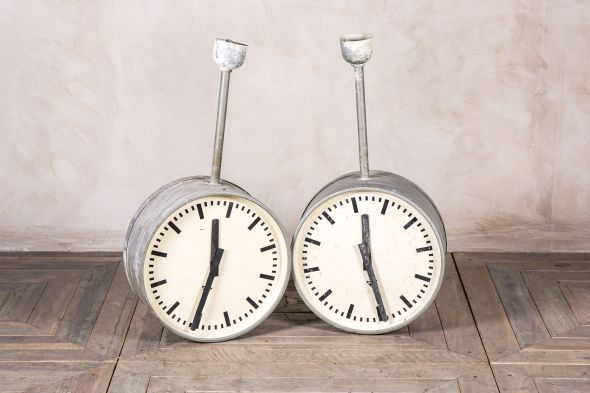 Double Faced Industrial Ceiling Clock