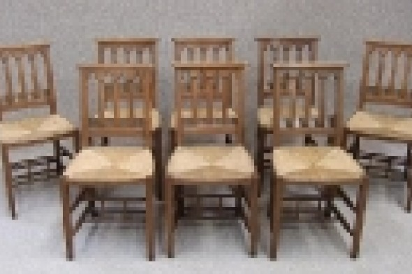 8 Solid Oak Gothic Church/chapel Chairs