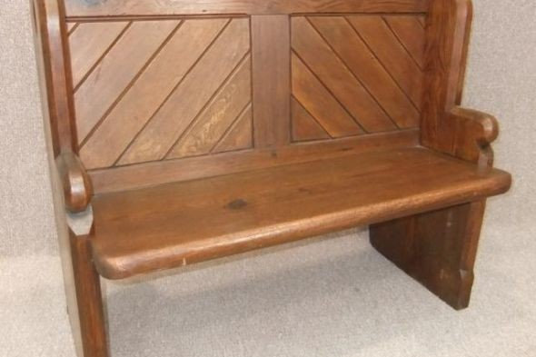 Victorian Pine Pew with a Panelled Back