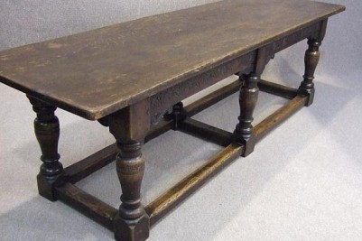 Solid oak victorian refectory dining table