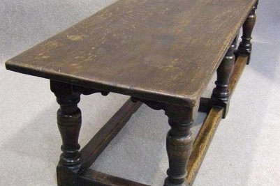 Antique victorian solid oak refectory dining table