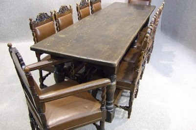 Victorian antique oak refectory table
