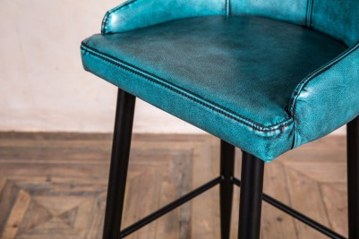 blue leather look upholstered seat pad