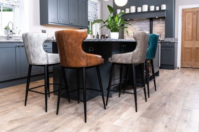 industrial style wing back breakfast bar stools