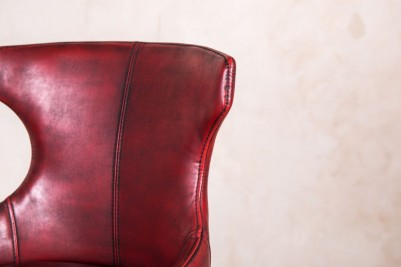 red leather look stool