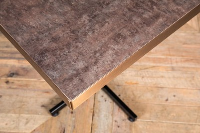 aged brass square restaurant table