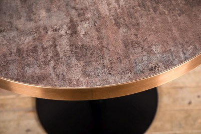 aged brass rounded edged dining table