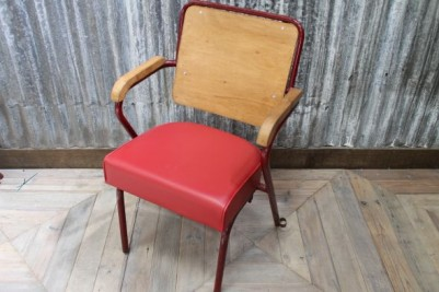 red upholstered chair