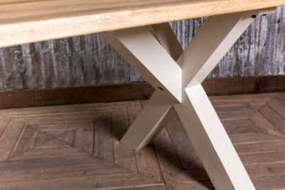 oak top cross frame table