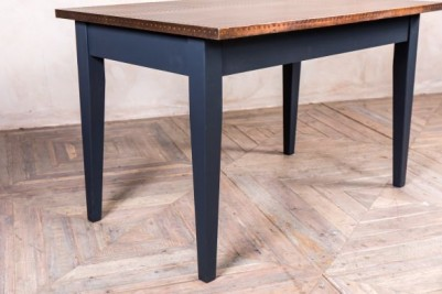 copper top tapered leg table