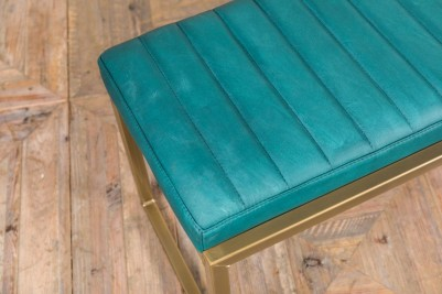blue faux leather bench