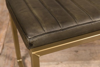 brown faux leather breakfast bench