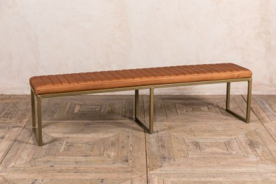 camel faux leather dining bench