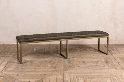 military olive faux leather dining bench