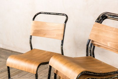 distressed stacking school chairs