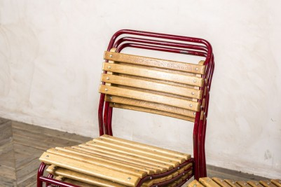 red vintage frame outdoor chair